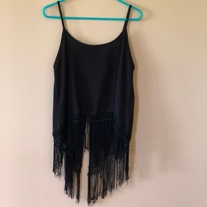 Spaghetti strap black tank top with fringe
